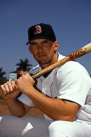 Boston Red Sox outfielder Trot Nixon #7 prior to a game at City of Palms Park in Fort Myers, Florida in March of 1999.  (Ken Babbitt/Four Seam Images)