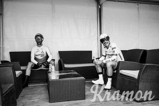 John Degenkolb (DEU/Trek-Segafredo) & Reinardt Janse van Rensburg (ZAF/Dimension Data) before their start<br /> <br /> Stage 20 (ITT): Saint-Pée-sur-Nivelle >  Espelette (31km)<br /> <br /> 105th Tour de France 2018<br /> ©kramon