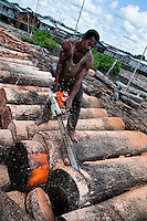 A Colombian sawmill worker uses a chainsaw to cut a log from the rainforest in Tumaco, Colombia, 14 June 2010. Tens of sawmills located on the banks of the Pacific jungle rivers generate almost half of the Colombia's wood production. The wood species processed here (sajo, machare, roble, guabo, cargadero y pacora) are mostly used in the construction industry and the paper production. Although the Pacific lush rainforest in Colombia is one of the most biodiverse area of the world, the region suffers an extensive deforestation due to the uncontrolled logging in the last years.