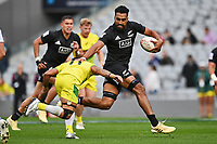 22nd May 2021; Eden Park, Auckland New Zealand; All Blacks Sevens versus Australia, Trans-Tasman Sevens;  Amanaki Nicole straight arm tackle