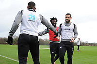 (L-R) Leroy Fer, Wilfried Bony and Cameron Carter-Vickers of Swansea City in action during the Swansea City Training at The Fairwood Training Ground, Swansea, Wales, UK. Tuesday 22 January 2019