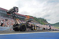 Jun. 17, 2012; Bristol, TN, USA: NHRA top fuel dragster driver Tony Schumacher during the Thunder Valley Nationals at Bristol Dragway. Mandatory Credit: Mark J. Rebilas-