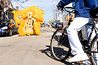 "Wallace Pardo, ""Chief"", and the rest of the Golden Comanches Mardi Gras Indians parade uptown in New Orleans on February 28, 2006."