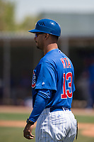 Chicago Cubs manager Jonathan Mota (13) during an Extended Spring Training game against the Colorado Rockies at Sloan Park on April 17, 2018 in Mesa, Arizona. (Zachary Lucy/Four Seam Images)