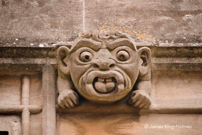 Grotesques on the wall of the Gateway of Abingdon Abbey, Abingdon-on-Thames, UK. Although sometimes called gargoyles, the latter name is reserved for figures with the function of leading roof water to a drain-pipe. This gatehouse in one of the only remaining structures of the Abbey, but is extensively restored. Abingdon was situated in the county of Berkshire, but under local government re-organisation in 1974 it was transferred to Oxfordshire.