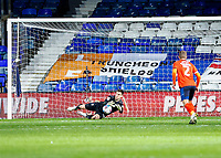 21st November 2020; Kenilworth Road, Luton, Bedfordshire, England; English Football League Championship Football, Luton Town versus Blackburn Rovers; Simon Sluga goal keeper for Luton Town makes a diving save