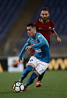 Calcio, Serie A: Roma, stadio Olimpico, 14 ottobre 2017.<br /> Napoli's José Maria Callejon (r) in action with Roma's Daniele De Rossi (l) during the Italian Serie A football match between Roma and Napoli at Rome's Olympic stadium, October14, 2017.<br /> UPDATE IMAGES PRESS/Isabella Bonotto