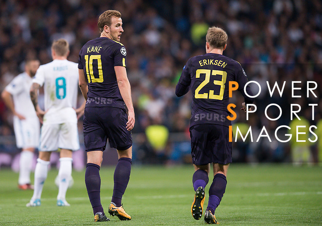 Harry Kane of Tottenham Hotspur FC celebrates during the UEFA Champions League 2017-18 match between Real Madrid and Tottenham Hotspur FC at Estadio Santiago Bernabeu on 17 October 2017 in Madrid, Spain. Photo by Diego Gonzalez / Power Sport Images