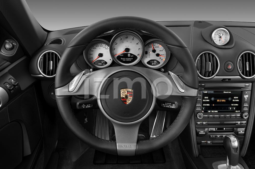 Steering wheel view of a 2009 Porsche Cayman S