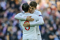Ben Chilwell (Leicester City) of England and John Stones (Manchester City) of England embrace ahead of the Nations League A Group 4 International match between England and Croatia at Wembley Stadium, London, England on 18 November 2018. Photo by David Horn/PRiME Media Images.