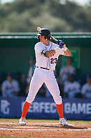Peyton Basler (23) during the WWBA World Championship at Terry Park on October 8, 2020 in Fort Myers, Florida.  Peyton Basler, a resident of Lansing, Kansas who attends Lansing High School, is committed to Charleston Southern.  (Mike Janes/Four Seam Images)