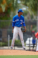 GCL Blue Jays relief pitcher Franniel Polanco (21) looks in for the sign during a game against the GCL Phillies East on August 10, 2018 at Carpenter Complex in Clearwater, Florida.  GCL Blue Jays defeated GCL Phillies East 8-3.  (Mike Janes/Four Seam Images)