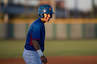 AZL Cubs 2 second baseman Reivaj Garcia (24) laughs during an Arizona League game against the AZL Reds at Sloan Park on June 18, 2018 in Mesa, Arizona. AZL Cubs 2 defeated the AZL Reds 4-3. (Zachary Lucy/Four Seam Images)