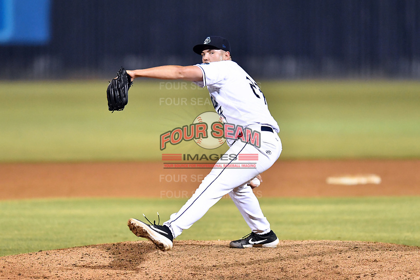 Asheville Tourists pitcher Riley Pint (27) delivers a pitch during a game against the Augusta GreenJackets at McCormick Field on June 5, 2019 in Asheville, North Carolina. The Tourists defeated the GreenJackets 4-3. (Tony Farlow/Four Seam Images)