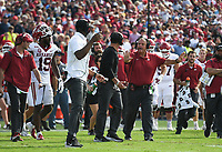 Arkansas head coach Sam Pittman reacts, Saturday, October 9, 2021 during the fourth quarter of a football game at Vaught Hemingway Stadium in Oxford, Miss. Check out nwaonline.com/211010Daily/ for today's photo gallery. <br /> (NWA Democrat-Gazette/Charlie Kaijo)
