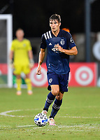 LAKE BUENA VISTA, FL - JULY 26: Graham Smith of Sporting KC dribbles the ball during a game between Vancouver Whitecaps and Sporting Kansas City at ESPN Wide World of Sports on July 26, 2020 in Lake Buena Vista, Florida.
