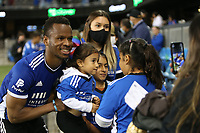 SAN JOSE, CA - AUGUST 17: Jeremy Ebobisse #11 of the San Jose Earthquakes with fans before a game between Minnesota United FC and San Jose Earthquakes at PayPal Park on August 17, 2021 in San Jose, California.
