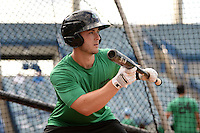 Daytona Tortugas catcher Joe Hudson (8) in the batting cage during practice before a game against the Tampa Yankees on April 24, 2015 at George M. Steinbrenner Field in Tampa, Florida.  Tampa defeated Daytona 12-7.  (Mike Janes/Four Seam Images)