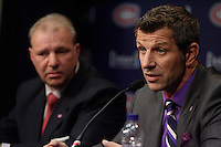 June 5, 2012-  File Photo - Montreal, Quebec, CANADA -   Montreal's CANADIENS Hockey team news conference with coach Michel Therien (L) and general manager Marc Bergevin (R)