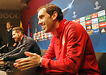 Atletico de Madrid's Diego Godin and the coach Diego Pablo Cholo Simeone in press conference before Champions League training session. April 4,2016.(ALTERPHOTOS/Acero)