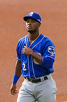 Biloxi Shuckers shortstop Luis Aviles Jr. (2) prior to a Southern League game against the Jackson Generals on July 26, 2018 at The Ballpark at Jackson in Jackson, Tennessee. Jackson defeated Biloxi 9-5. (Brad Krause/Four Seam Images)