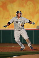 Nazier Mcilwain #26 of the Coppin State Eagles runs the bases during a game against the Southern California Trojans at Dedeaux Field on February 18, 2017 in Los Angeles, California. Southern California defeated Coppin State, 22-2. (Larry Goren/Four Seam Images)