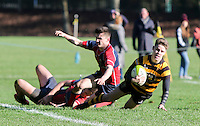 Saturday 4th February 2017 | RBAI vs BALLYCLARE HIGH SCHOOL<br /> <br /> Rhys O'Donnell scores during the Ulster Schools' Cup clash between RBAI and Ballyclare High School at  Cranmore Park, Belfast, Northern Ireland.<br /> <br /> Photograph by www.dicksondigital.com