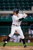 Lakeland Flying Tigers third baseman Chad Sedio (20) at bat during the second game of a doubleheader against the Bradenton Marauders on April 11, 2018 at Publix Field at Joker Marchant Stadium in Lakeland, Florida.  Bradenton defeated Lakeland 1-0.  (Mike Janes/Four Seam Images)