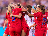 PHILADELPHIA, PA - AUGUST 29: Lindsey Horan #9 and Morgan Brian #6 of the United States celebrate during a game between Portugal and the USWNT at Lincoln Financial Field on August 29, 2019 in Philadelphia, PA.