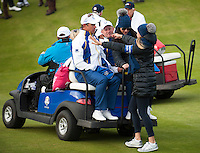 27.09.2014. Gleneagles, Auchterarder, Perthshire, Scotland.  The Ryder Cup.  Lee Westwood and Jamie Donaldson (EUR) arrive back on the 18th green. Saturday Foursooms.