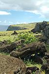 Toppled moai along the coast of Rapa Nui, Chile