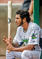 25 July 2017: Vermont Lake Monsters infielder Jesus Lage sits in the dugout during a game against the Tri-City ValleyCats at Centennial Field in Burlington, Vermont. The Lake Monsters defeated the ValleyCats 11-3 in NY Penn League action. Mandatory Credit: Ed Wolfstein Photo *** RAW (NEF) Image File Available ***