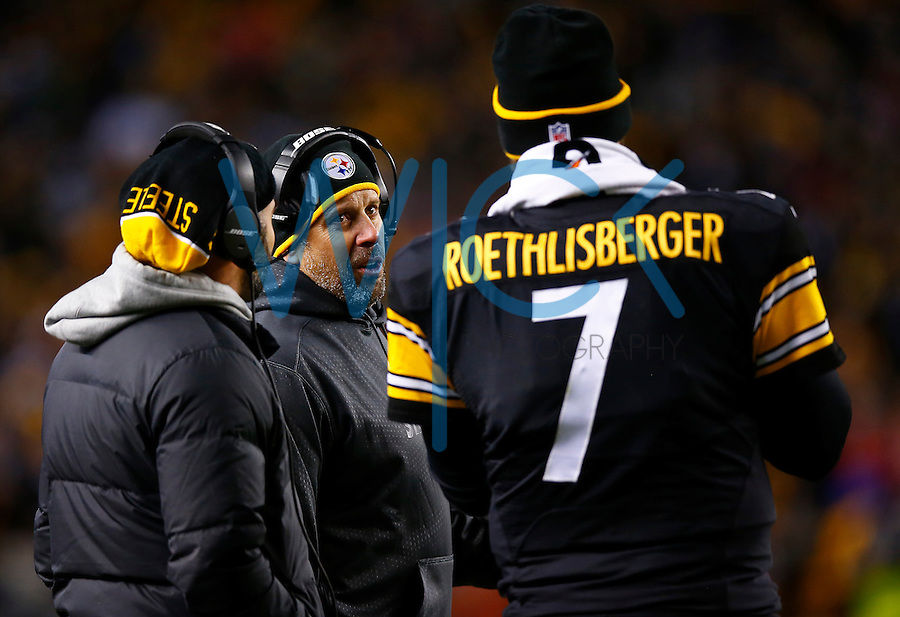 Offensive coordinator Todd Haley talks with Ben Roethlisberger #7 of the Pittsburgh Steelers against the Denver Broncos during the game at Heinz Field on December 20, 2015 in Pittsburgh, Pennsylvania. (Photo by Jared Wickerham/DKPittsburghSports)