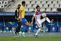 2nd July 2021; Nilton Santos Stadium, Rio de Janeiro, Brazil; Copa America, Brazil versus Chile; Eugenio Mena of Chile controls the high cross