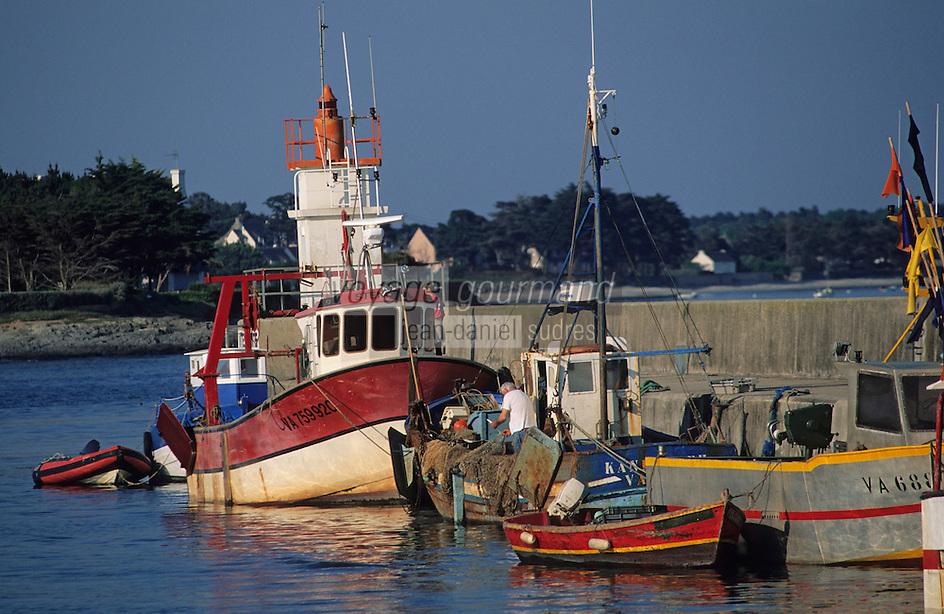 Europe/France/Bretagne/56/Morbihan/Presqu'île de Rhuys/Port Saint-Jacques: Chalutier amérré au port