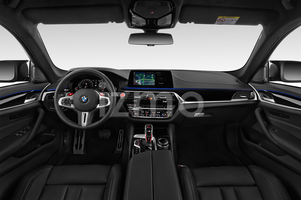 Stock photo of straight dashboard view of a 2019 BMW M5 Competition Base 4 Door Sedan