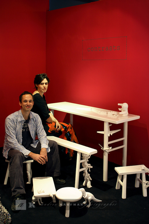 Julie Mathias and Wolfgang Kaeppner show of their children's bench set. ....Art Basel invades Miami every year in December. This is it's fifth year in South Florida. Galleries from all around the world come to Miami to show their latest works. Over $100 million worth of art was sold during the week of December 7-10.