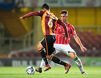 Lincoln City's Lewis Montsma vies for possession with Bradford City's Anthony O'Connor<br /> <br /> Photographer Chris Vaughan/CameraSport<br /> <br /> Carabao Cup Second Round Northern Section - Bradford City v Lincoln City - Tuesday 15th September 2020 - Valley Parade - Bradford<br />  <br /> World Copyright © 2020 CameraSport. All rights reserved. 43 Linden Ave. Countesthorpe. Leicester. England. LE8 5PG - Tel: +44 (0) 116 277 4147 - admin@camerasport.com - www.camerasport.com