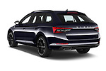 Car pictures of rear three quarter view of 2020 Skoda Superb-Combi Sportline-4wd 5 Door Wagon Angular Rear