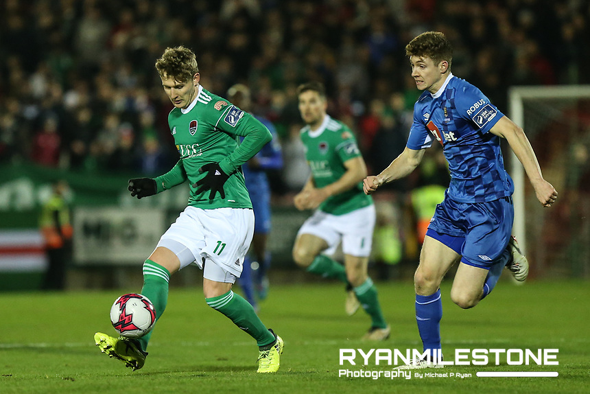 Kieran Sadlier of Cork with Rory Feely of Waterford during the SSE Airtricity League Premier Division game between Cork City and Waterford FC on Friday 23rd February 2018 at Turners Cross. Photo By: Michael P Ryan
