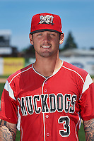 Batavia Muckdogs infielder Taylor Munden (3) poses for a photo before the teams first practice on June 15, 2016 at Dwyer Stadium in Batavia, New York.  (Mike Janes/Four Seam Images)