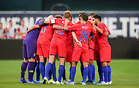 St. Louis, MO - SEPTEMBER 10: USMNT huddle during their game versus Uruguay at Busch Stadium, on September 10, 2019 in St. Louis, MO.