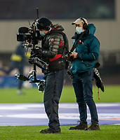 2nd January 2021; Bet365 Stadium, Stoke, Staffordshire, England; English Football League Championship Football, Stoke City versus Bournemouth; A TV crew film the warm up