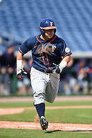 Cal State Fullerton Titans infielder Josh Estill (38) runs to first during a game against the Louisville Cardinals on February 15, 2015 at Bright House Field in Clearwater, Florida.  Cal State Fullerton defeated Louisville 8-6.  (Mike Janes/Four Seam Images)
