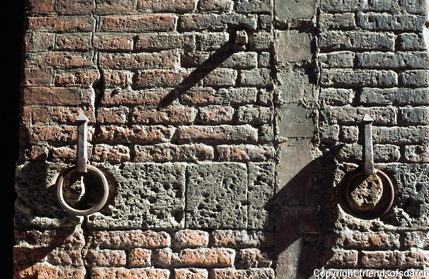 Siena:  Wall textures. Rings are not for hitching but to hold pitch torches.
