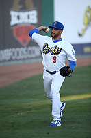 Jordan Sheffield (9) of the Rancho Cucamonga Quakes throws in the outfield before pitching against the Stockton Ports at LoanMart Field on August 15, 2017 in Rancho Cucamonga California. Rancho Cucamonga defeated Stockton, 11-9. (Larry Goren/Four Seam Images)