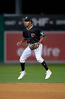 Batavia Muckdogs second baseman Nasim Nunez (23) during a NY-Penn League Semifinal Playoff game against the Lowell Spinners on September 4, 2019 at Dwyer Stadium in Batavia, New York.  Batavia defeated Lowell 4-1.  (Mike Janes/Four Seam Images)