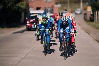 Edward Planckaert (BEL/Sport Vlaanderen-Baloise) & Ludwig De Winter (BEL/WB Aqua Protect-Veranclassic) taking their turn in front of the breakaway group<br /> <br /> Omloop Het Nieuwsblad 2018<br /> Gent › Meerbeke: 196km (BELGIUM)