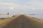 Lonely road cross Siwa Oasis in western desert