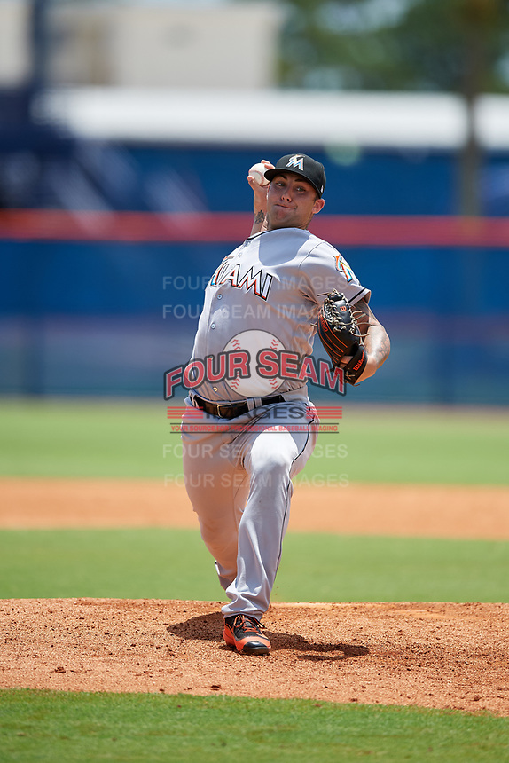GCL Marlins relief pitcher Chevis Hoover (39) delivers a pitch during a game against the GCL Mets on August 3, 2018 at St. Lucie Sports Complex in Port St. Lucie, Florida.  GCL Mets defeated GCL Marlins 3-2.  (Mike Janes/Four Seam Images)